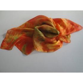 Oranžovo-zelený hedvábný šátek