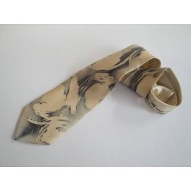 Béžovo-šedá hedvábná kravata