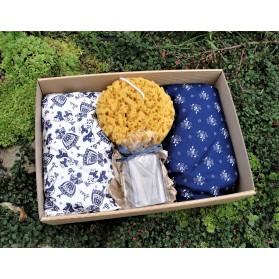 Dárková sada: 2 x pohankový polštářek s levandulí, houba a dvě luxusní mýdlo